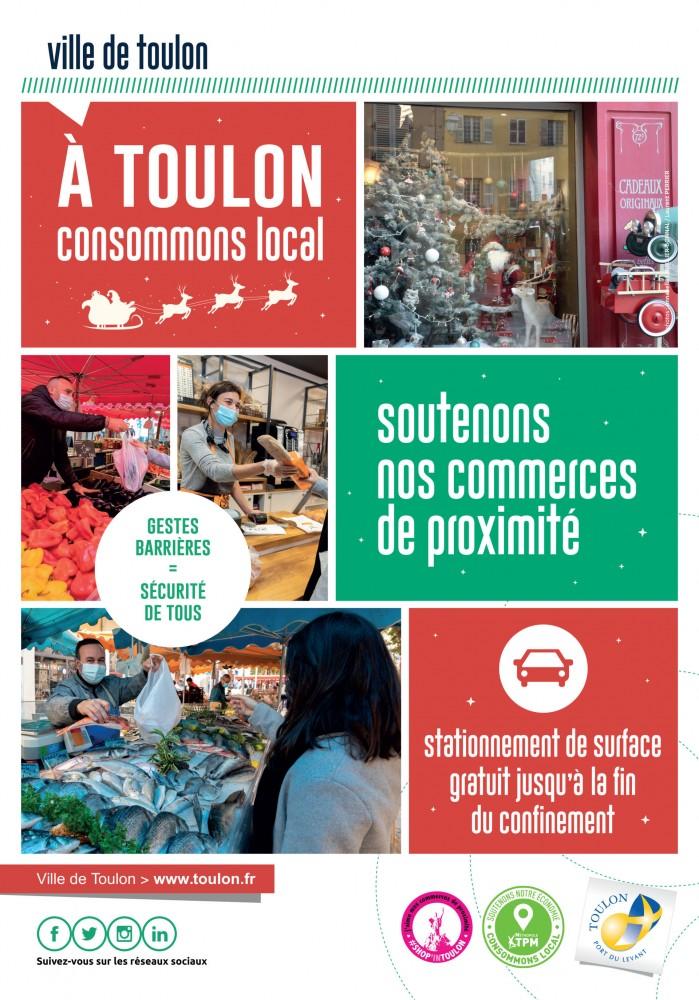 La ville de Toulon avec les commerces de proximité